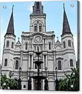 St Louis Cathedral And Fountain Jackson Square French Quarter New Orleans Poster Edges Digital Art Acrylic Print