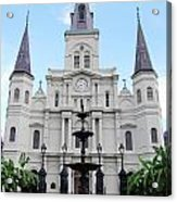 St Louis Cathedral And Fountain Jackson Square French Quarter New Orleans  Acrylic Print