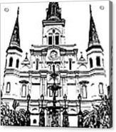 St Louis Cathedral And Fountain Jackson Square French Quarter New Orleans Stamp Digital Art Acrylic Print