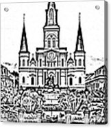 St Louis Cathedral On Jackson Square In The French Quarter New Orleans Photocopy Digital Art Acrylic Print