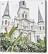 St Louis Cathedral Rising Above Palms Jackson Square New Orleans Colored Pencil Digital Art Acrylic Print