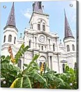 St Louis Cathedral Rising Above Palms Jackson Square New Orleans Film Grain Digital Art Acrylic Print