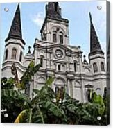 St Louis Cathedral Rising Above Palms Jackson Square New Orleans Fresco Digital Art Acrylic Print