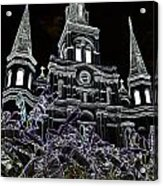St Louis Cathedral Rising Above Palms Jackson Square New Orleans Glowing Edges Digital Art Acrylic Print