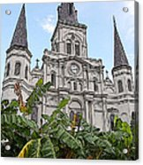 St Louis Cathedral Rising Above Palms Jackson Square New Orleans Poster Edges Digital Art Acrylic Print