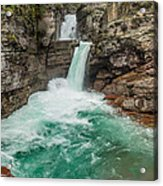 St. Mary Falls In Spring Acrylic Print