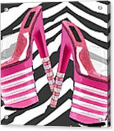 Stack 'em High Pink Platforms On Zebra Acrylic Print
