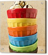 Stack Of Colored Bowls With Ice Cream On Top Acrylic Print