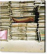 Stacked Deckchairs On Beach Acrylic Print