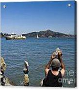 Stacking Rocks And Ferry Acrylic Print