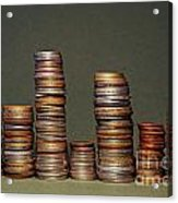 Stacks Of Various Currency Coins Acrylic Print