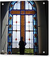 Stained Glass Cross Window Of Hope Acrylic Print