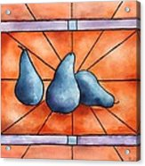 Stained Glass Pears Acrylic Print by Bobbi Price