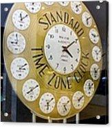 Standard Time Zone Clock. Acrylic Print by Mark Williamson