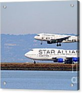 Star Alliance Airlines And Frontier Airlines Jet Airplanes At San Francisco Airport . Long Cut Acrylic Print