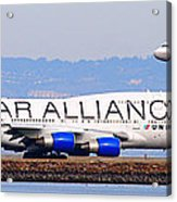 Star Alliance Airlines And United Airlines Jet Airplanes At San Francisco Airport Sfo . Long Cut Acrylic Print