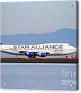 Star Alliance Airlines Jet Airplane At San Francisco International Airport Sfo . 7d12199 Acrylic Print by Wingsdomain Art and Photography