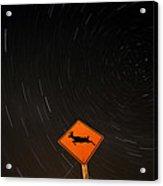 Star Tracks Behind Deer Crossing Sign Acrylic Print
