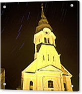 Star Trails Behind Vodice Church Acrylic Print