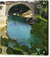 Stari Most Or Old Town Bridge Over The Acrylic Print