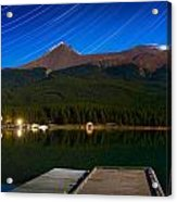 Starry Night Of Mountains And Lake Acrylic Print