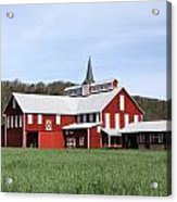 Stately Red Barn With Elongated Clerestory Cupola Acrylic Print by John Stephens