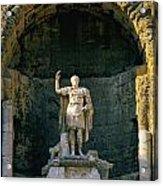 Statue De L'empereur Auguste Dans Le Theatre D'orange. Acrylic Print by Bernard Jaubert