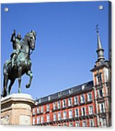 Statue Of King Philip IIi At Plaza Mayor Acrylic Print