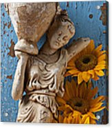 Statue Of Woman With Sunflowers Acrylic Print