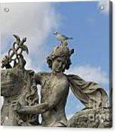 Statue . Place De La Concorde. Paris. France Acrylic Print by Bernard Jaubert