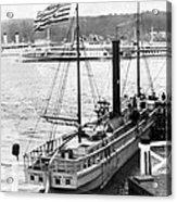 Steamer In The Hudson River - New York - 1909 Acrylic Print