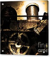Steampunk Railway Transcontinental Line . Where Steam Is Still King . Gold Version Acrylic Print by Wingsdomain Art and Photography