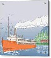 Steamship Steamboat Vintage Acrylic Print by Aloysius Patrimonio