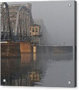 Steel Bridge In Fog - Vertical Acrylic Print