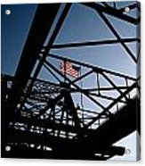 Steel Bridge With American Flag Acrylic Print