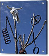 Steer Skull In Tree Acrylic Print by Garry Gay