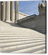Steps And Statue Of The Supreme Court Building Acrylic Print by Roberto Westbrook