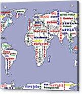 Steve Jobs Apple World Map Digital Art Acrylic Print