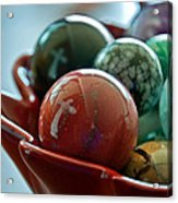Still Life Crosses Reflected In Bowl Of Glass Marbles Art Prints Acrylic Print