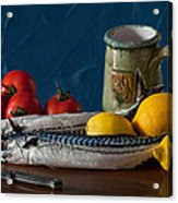 Still Life With Mackerels Lemons And Tomatoes Acrylic Print