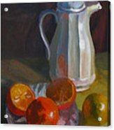 Still Life With White Carafe And Oranges Acrylic Print