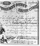 Stock Certificate, 1853 Acrylic Print