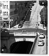 Stockton Street Tunnel Midday Late Summer In San Francisco . Black And White Photograph 7d7499 Acrylic Print