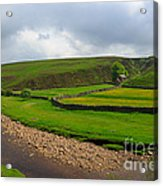 Stone Barn In A Fold Of The Landscape Acrylic Print