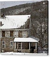 Stone Farmhouse In Snow Acrylic Print by John Stephens