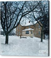 Stone Farmhouse In Winter Acrylic Print