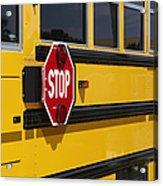 Stop Sign On A School Bus Acrylic Print by Skip Nall