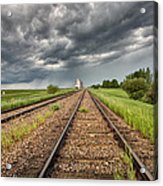 Storm Clouds Over Grain Elevator Acrylic Print