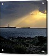 storm light - A morning light iluminates lighthouse through clouds in an amazing landscape Acrylic Print
