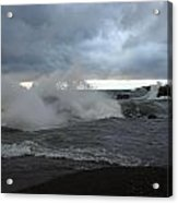 Storm On Black Beach Acrylic Print